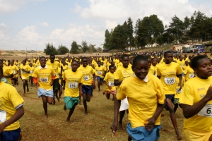Photo: Shoe4Africa. Kenyan school girls running for peace at the post-election clashes