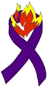 The purple ribbon to honor fallen firefighters