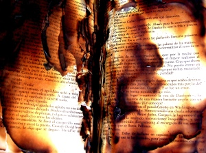burned book, pages aflame, censorship