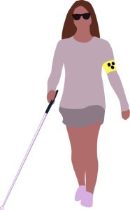 clip art of blind woman walking with cane