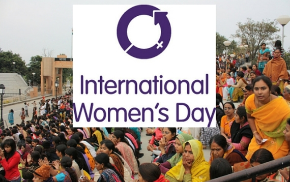 International Women's Day logo with women in crowd