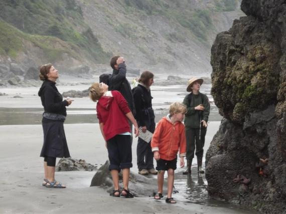 ranger leading family on tide pool exploration in National Park