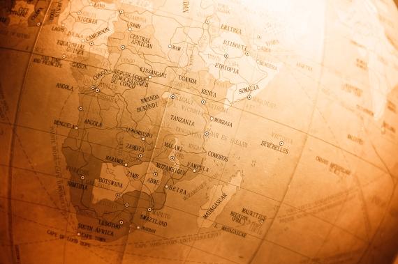 Vintage world map Africa